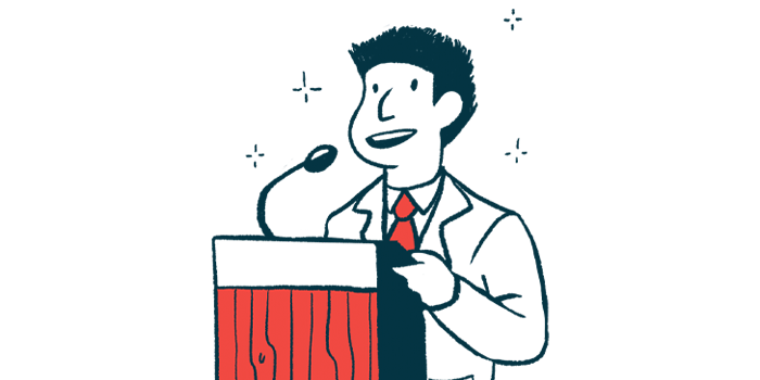 United Against Ataxia Hill Day | Friedreich's Ataxia News | advocacy event | illustration of speaker at podium