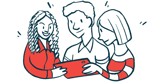 Illustration of people sharing a tablet