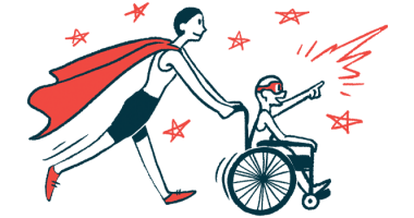 rare disease clinical trial participants | Friedreich's Ataxia News | Illustration of woman in cape pushing child in wheelchair